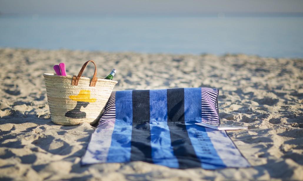 beachrelaxer Strandtuch Strandlaken Sandori gestreift blau