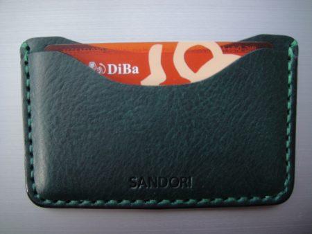 Sandori Kreditkartenetui Leder genarbt dunkelgrün Naht grün 4 (1024x768)