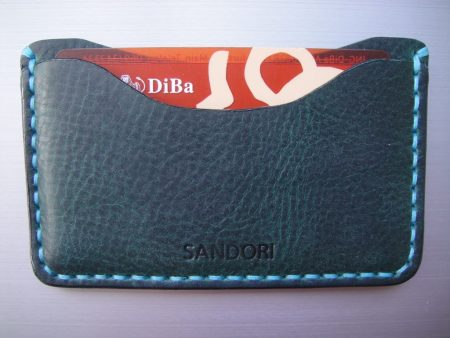 Sandori Kreditkartenetui Leder genarbt dunkelgrün Naht türkis 4 (1024x768)