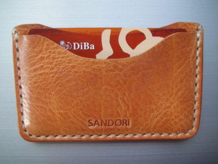 Sandori Kreditkartenetui Leder genarbt hellbraun Naht hell 4 (1024x768)