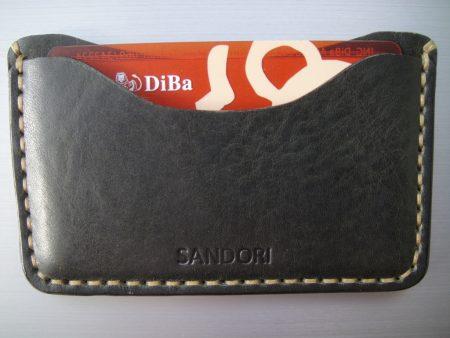 Sandori Kreditkartenetui Leder glatt dunkelolive Naht hell 4 (1024x768)