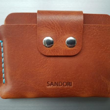 Sandori Portemonnaie mini mittelbraun hellblau glatt 1 (1024x768)