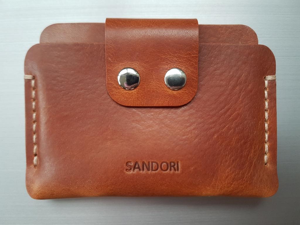 8bdc1a17e94bb0 Mini Portemonnaie aus glattem italienischem Leder in mittelbraun mit ...